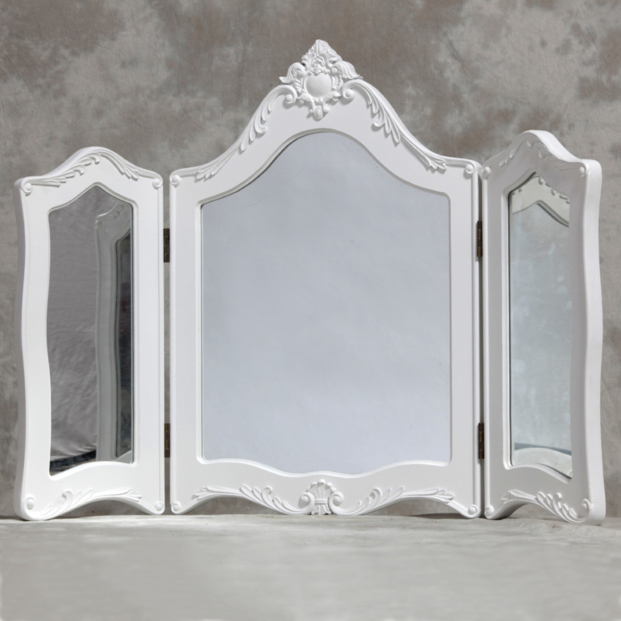 French White Tri Dressing Table Mirror